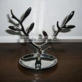 metal zinc shinny chrome plated jewelry tree and tray, jewelry hanging tree, jewelry holder tree