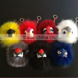 ofing is tasted Cute Little Monsters shape real raccoon fur ball pendant for bag ,car pom poms keychian
