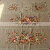 beige artificial silk embroidery flower imitate handmade aubusson sofa cover set