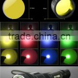 5 in 1green/red/yellow/blue/White frosted 45mm C8 torch filter led glass lens