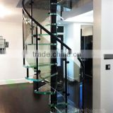 indoor contemporary glass spiral staircase with metal support laminated glass step                                                                         Quality Choice