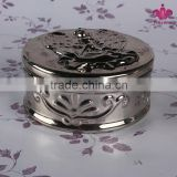 Wholesale direct factory produce decor gift silver color electroplating decorative ceramic jewelry box with round shaped