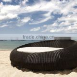 Outdoor PVC rattan wicker black round sunbed - Patio rattan sun lounger furniture