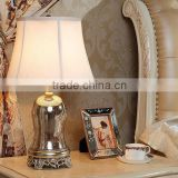 India style polyresin base gold mercury glass lamps with bell shape and waisted round fabric shade for home decor