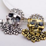 46*39mm Punk Style Skeleton Brooches Halloween Vintage Brooches Women Jewelry Silver Gold Men Pins