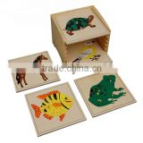 educational equipment Animal Puzzle Cabinet with 5 Puzzles (horse,fish,turtle,bird,frog)