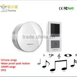 Forrinx supply new product Intelligent Wireless Doorbell smart voice wirless doorbell water proof push button for home office