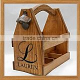 wholesale FSC&BSCI pine rustic 6 pack wooden beer wine whiskey glass bottle storage box tote carrier box with bottle opener