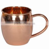BPA FREE SMOOTH MOSCOW MULE BARREL SHAPE SOLID COPPER MUGS WITH PURE COPPER HANDLE, FDA APPROVED