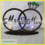 metal home decoration Mr and Mrs sign customized size wedding ring shape candle holder for wedding, valentine's day gift