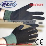 NMSAFETY 15 gauge knitted nylon coated black water based PU gloves/working water based PU gloves/safety working gloves