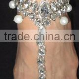 Silver Crystal pearl payal ANKLETS feet bracelet pair Barefoot sandal