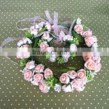 Hot sale Handmade foam rose flowers head wreath for wedding headdress and party for girls