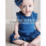 2017 adorable organic cotton baby rompers wholesale baby blue solid color ruffle clothes