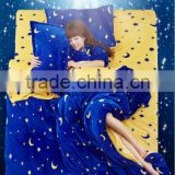 moon&star blue night Korean style design flanne fleece blanket/throw/bedsheet/sabana /manta