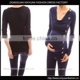 2014 hot sale women's cowl neck long sleeve offic wear maternity nursing fashion tunic blouse tops