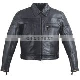 HMB-0407A LEATHER JACKETS MOTORCYCLE BIKER COAT BLACK