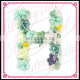 Aidocrystal cheap artificial green yellow hydrangea rose flower letter H home wall decor letters
