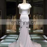 Cotton Trumpet wedding dress 2016 Round Neck Back Open Cross Lacing Beaded Mermaid Long trailed Wedding Dress