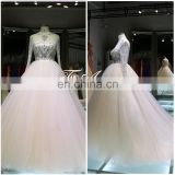 Russia Luxury Queen Style Beaded Rhainstonds Long Sleeves See Through Back Big Ball Gown Champagne Train Wedding Dress For 2016