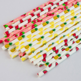 s Paper Straws Fruit Pattern Drinking Straws Decorative Paper Straws Summer Party Drinking Straws for Hawaiian Birthday Wedding Party Decoration