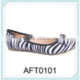 ladies zebra flat boat shoes