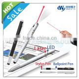 stylus pen with laser and led , promotional pen with stylus , luxury stylus pen for iPhone iPod iPad or Smart Phone