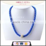 Long elegant blue mesh stardust chain necklace