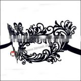 Luxury Black elegant Metal Laser Cut Venetian Mask Innovation Rhinestones