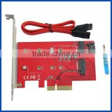 2 Port NGFF M.2 B + M Key SSD to PCI-E PCI Express 4X 4 Lane Adapter with low profile bracket