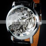 Men's Leather Skeleton Dial Hand-Wind Up Mechanical Wrist Watch