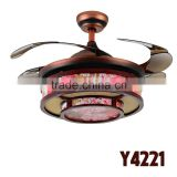 Chinese Style 4 Brown Hidden Blades Commercial Ceiling Fans With Lights