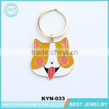 China Wholesale Fashion Lovely Printing Yellow Dog Key Chain Metal Key Ring Manufactures