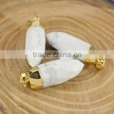 JF6723w Wholesale white turquoise faceted spike pendant, bullet shape howlite stone pendants
