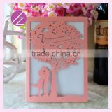 Free Printing Personalized love tree shaped Laser Cut acrylic Wedding Invitations Cards with various colors and designs