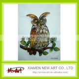 Wholesale Modern Colourful Shining metal owl wall decor Metal Art Wall Decoration salon wall decoration
