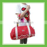Hot Sell Products Bros Red Dotted Nylon Zippered Water Resistant Barrel Duffel Sport Shoulder Tote Bag Very Convenient