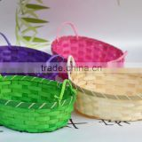 Spray painting color cheap bamboo fruit wicker basket, oval with handle