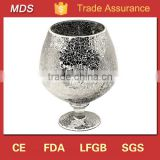 Larger silver mirror mosaic glass goblet vase made in china