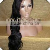 "Hot Beauty 20"" #1B Natural Wave, Bleached Knots, Peruvian virgin hair Full lace wig"