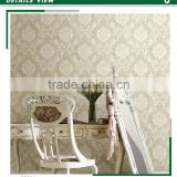 stockists embossed pvc coated wallpaper, khaki classic damask wall decal for kitchen , commercial wall decor pattern