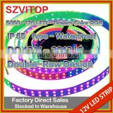 sv 12V LED 5050 120 led Dream Color Strip type Waterproof IP66 2912 IC RGB Dream Color Pixel Strip Double-Row Design PCB