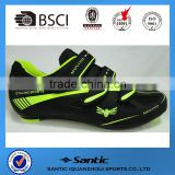 2016 OEM road cycling shoes bike shoes route with 3 straps compatiable with look SPD pedal black fluo