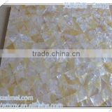 Modest luxury triangle yellow/gold mother of pearl seashell mosaic wall tile in brick pattern