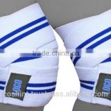 Weight Lifting Elasticated Knee Wrap Velcro In Blue And White Color Ci-2506-01