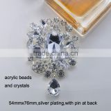 (M0595) Waterdrop Pendent Clear Rhinestone Wedding Brooch Pins,Wedding Bridal Pins ,Rhinestone Brooches,silver plating