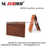MK442 Guangzhou factory wholesale lots card slot wallet brown RFID leather wallet                                                                                                         Supplier's Choice