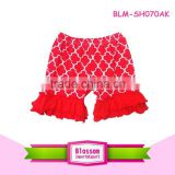 Baby clothes newest girls shorts high quality petti ruffle shorts children kids cotton red quatrefoil blank infant fluffy shorts