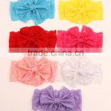 Fancy knitted baby butterfly flower bownot wide lace headband girl princess soft knitted knot headband