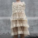 stylish sleeveless chiffon popular kids clothes old milk white ruffle girl simple evening dress for baby girls